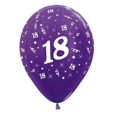 Sempertex 30cm Age 18 Metallic Purple Violet Latex Balloons, 25PK