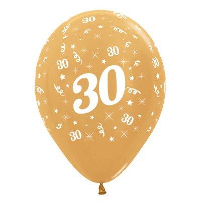 Sempertex 30cm Age 30 Metallic Gold Latex Balloons, 25PK