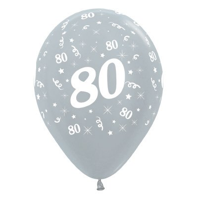 Sempertex 30cm Age 80 Satin Pearl Silver Latex Balloons, 25PK