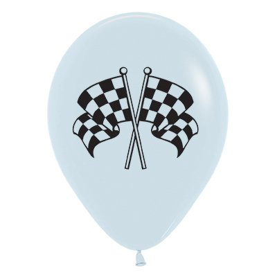 Sempertex 30cm Racing Flags Fashion White & Black Ink Latex Balloons, 25PK