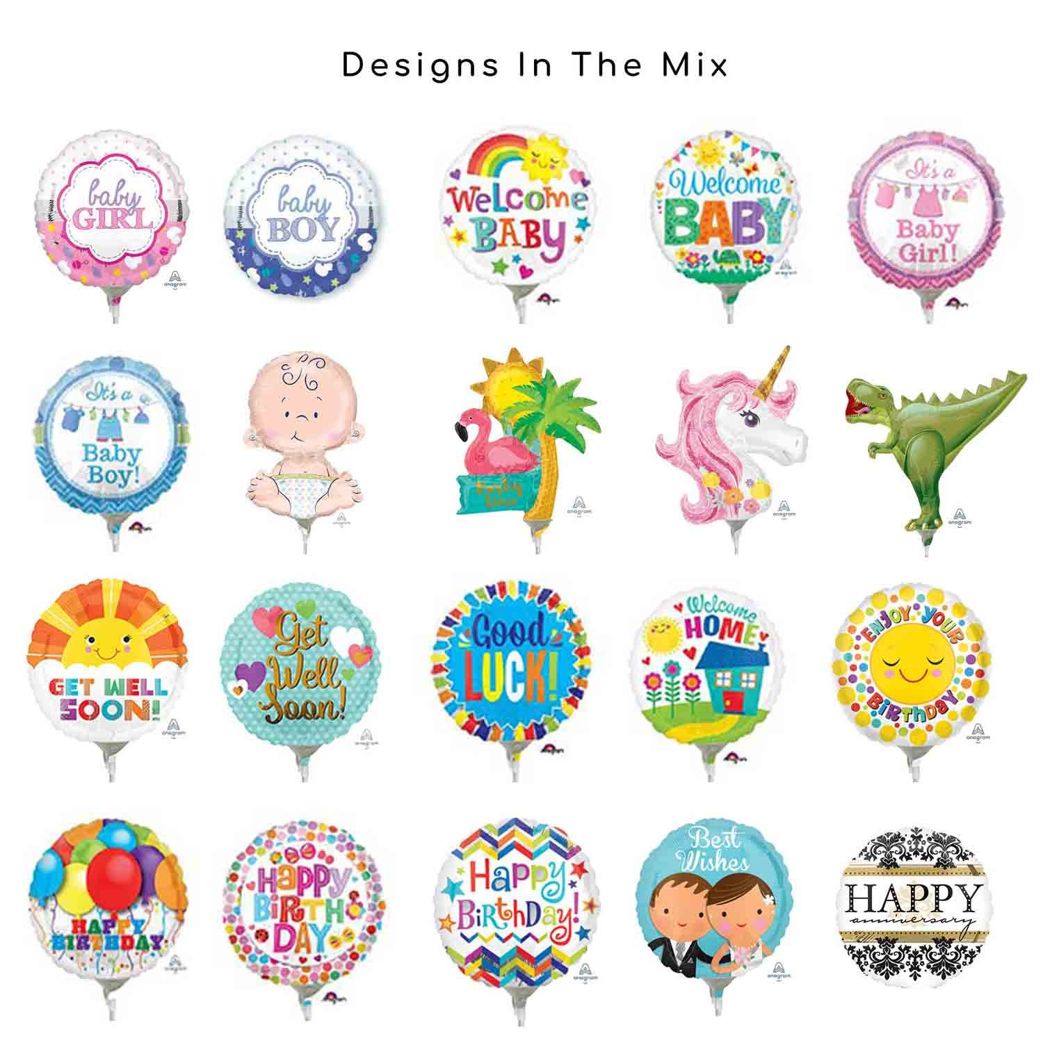 9in/23cm & Mini Shape - Baby, Birthday, Messages Foil Balloon Mix Contains 20 Balloons, pre-inflated with Sticks & Cups