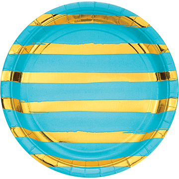 Touch of Colour Bermuda Blue & Gold Foil Striped Dinner Plates Paper