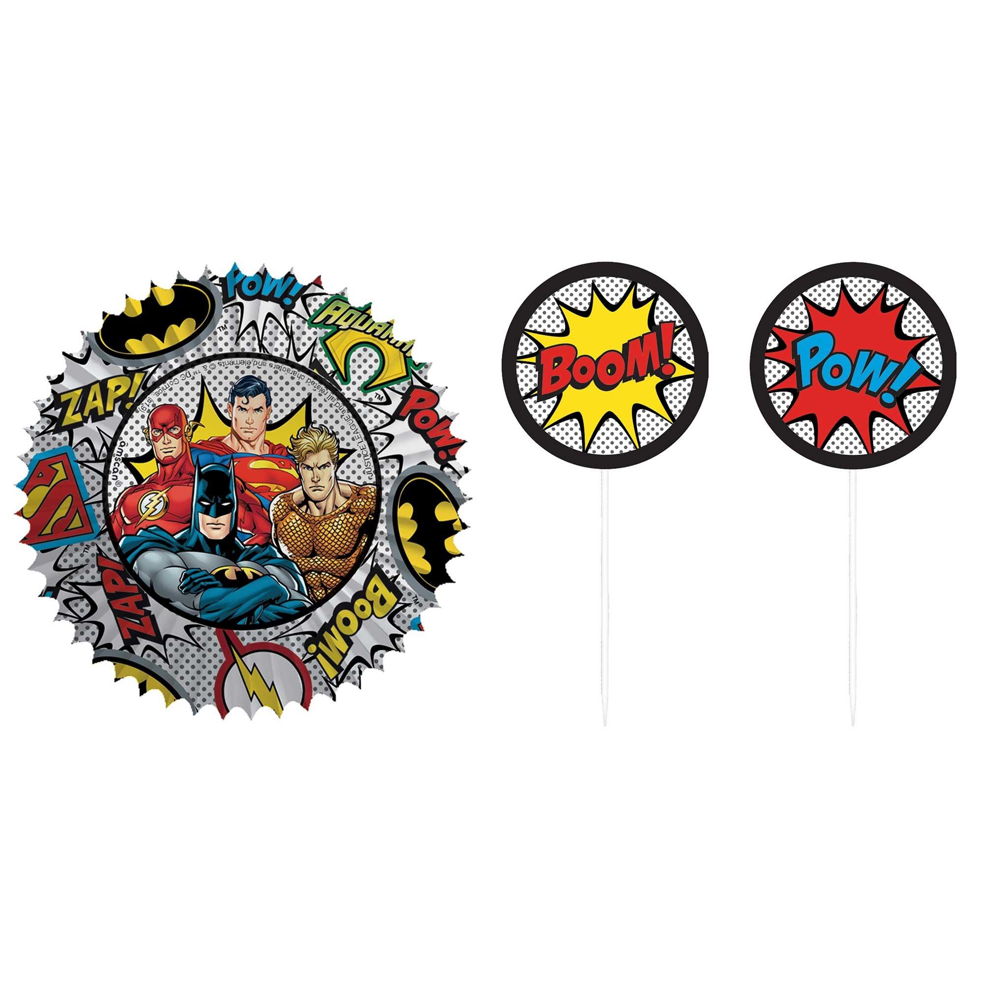 Justice League Heroes Unite Cupcake Cases & Picks Set