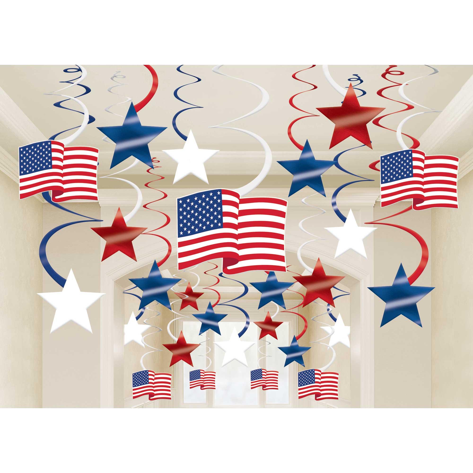 Patriotic Mega Value Pack Foil Swirl Decorations