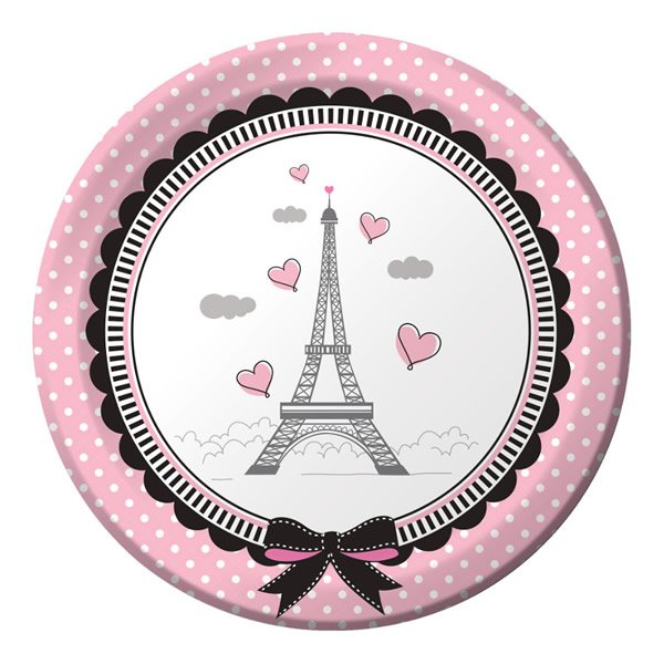 Party in Paris Lunch Plates Paper 18cm