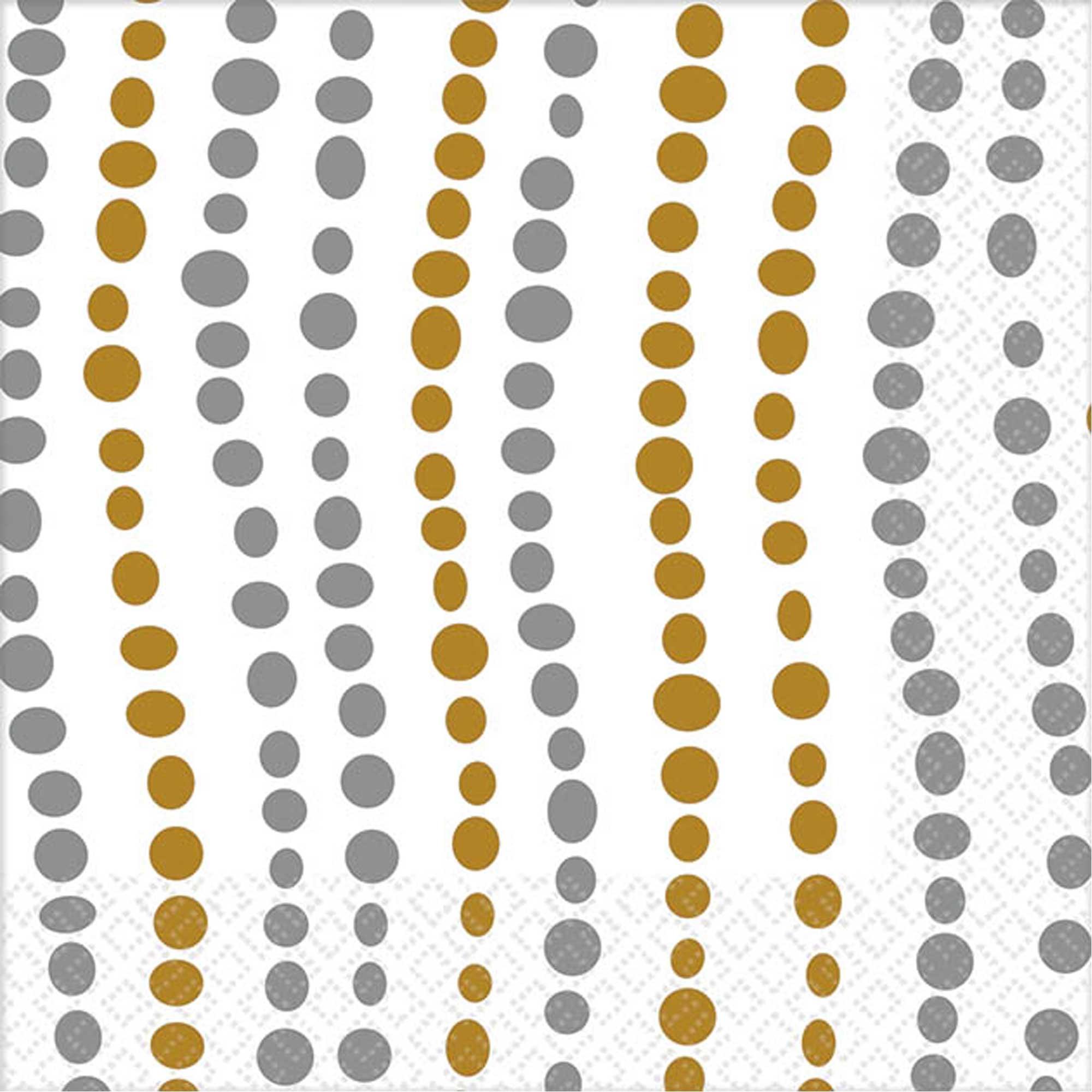 Modern Dot Gold & Silver Beverage Napkins