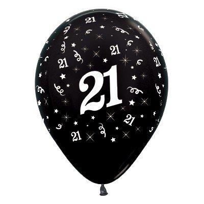 Sempertex 30cm Age 21 Metallic Black Latex Balloons, 25PK