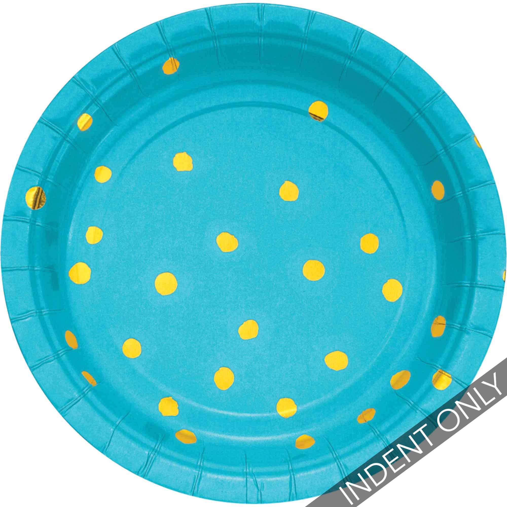 Touch of Colour Bermuda Blue & Gold Foil Dots Lunch Plates Paper