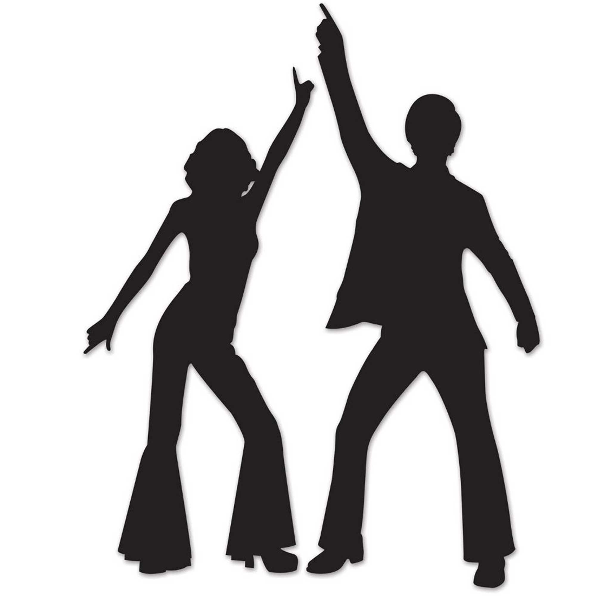 Disco Dancers Black Silhouettes Cutouts