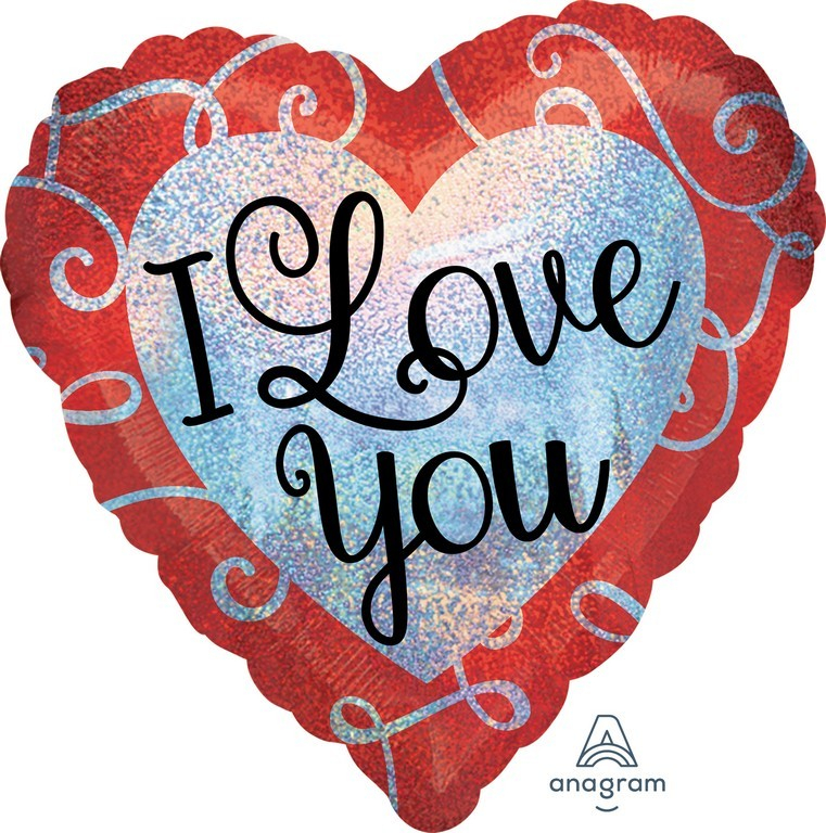 45cm Standard Holographic Sparkle Heart I Love You S55