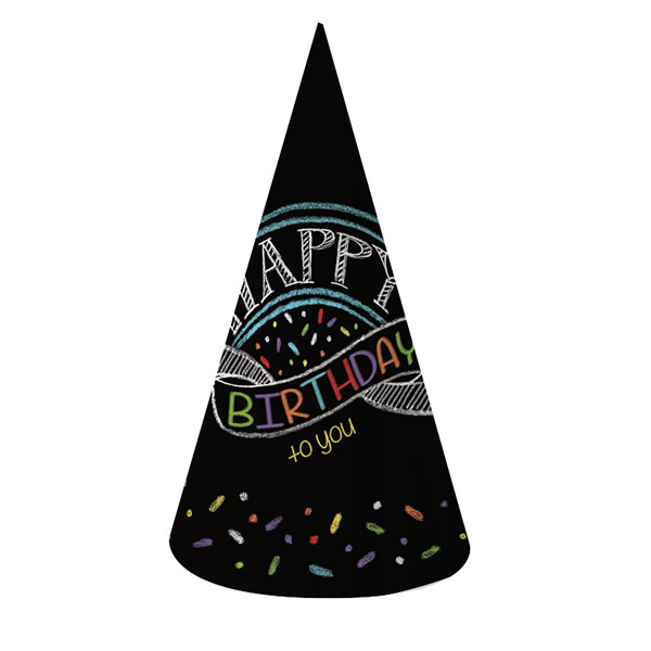 Chalk Birthday Happy Birthday To You Cone Hats