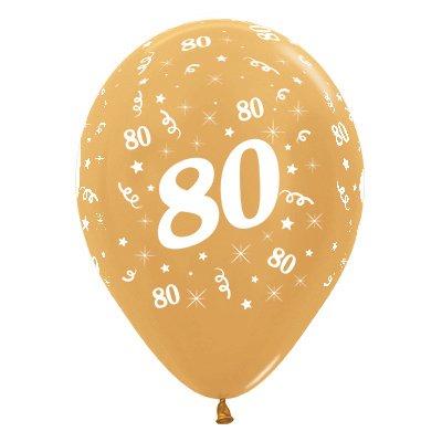 Sempertex 30cm Age 80 Metallic Gold Latex Balloons, 25PK