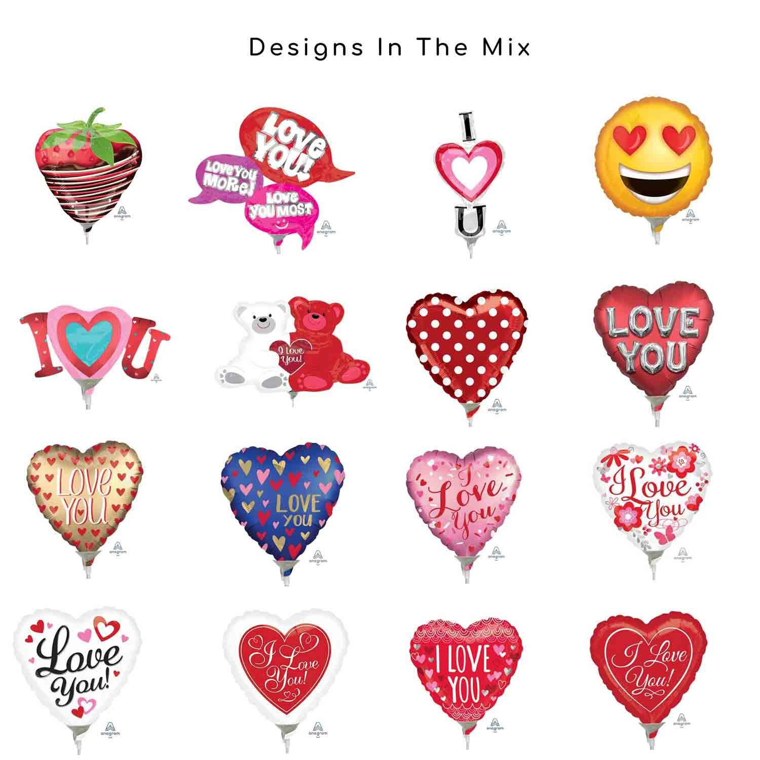9in/23cm & Mini Shape Love Foil Balloon Mix Contains 20 Balloons, pre-inflated with Sticks & Cups