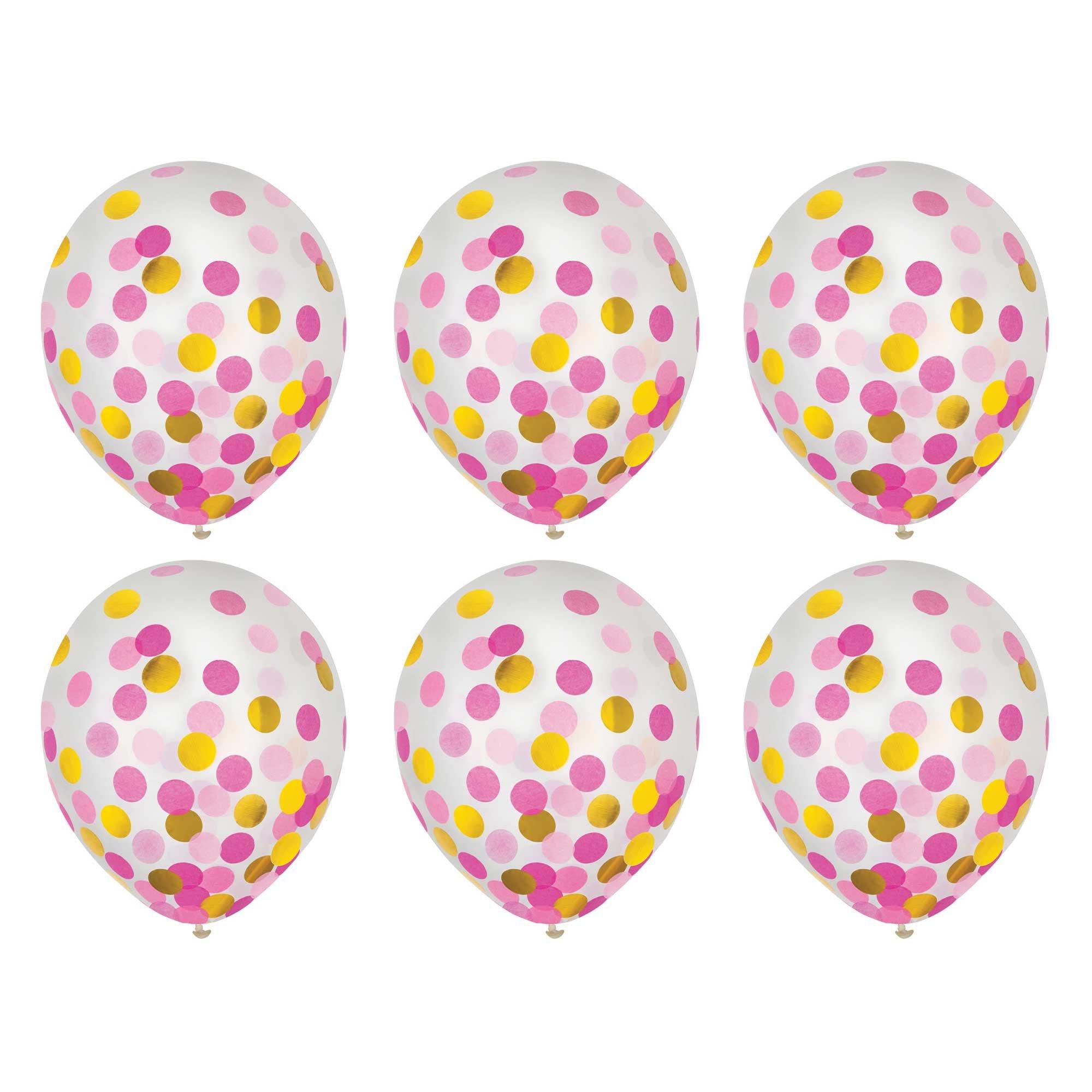 Latex Balloons 30cm & Confetti Pink & Gold