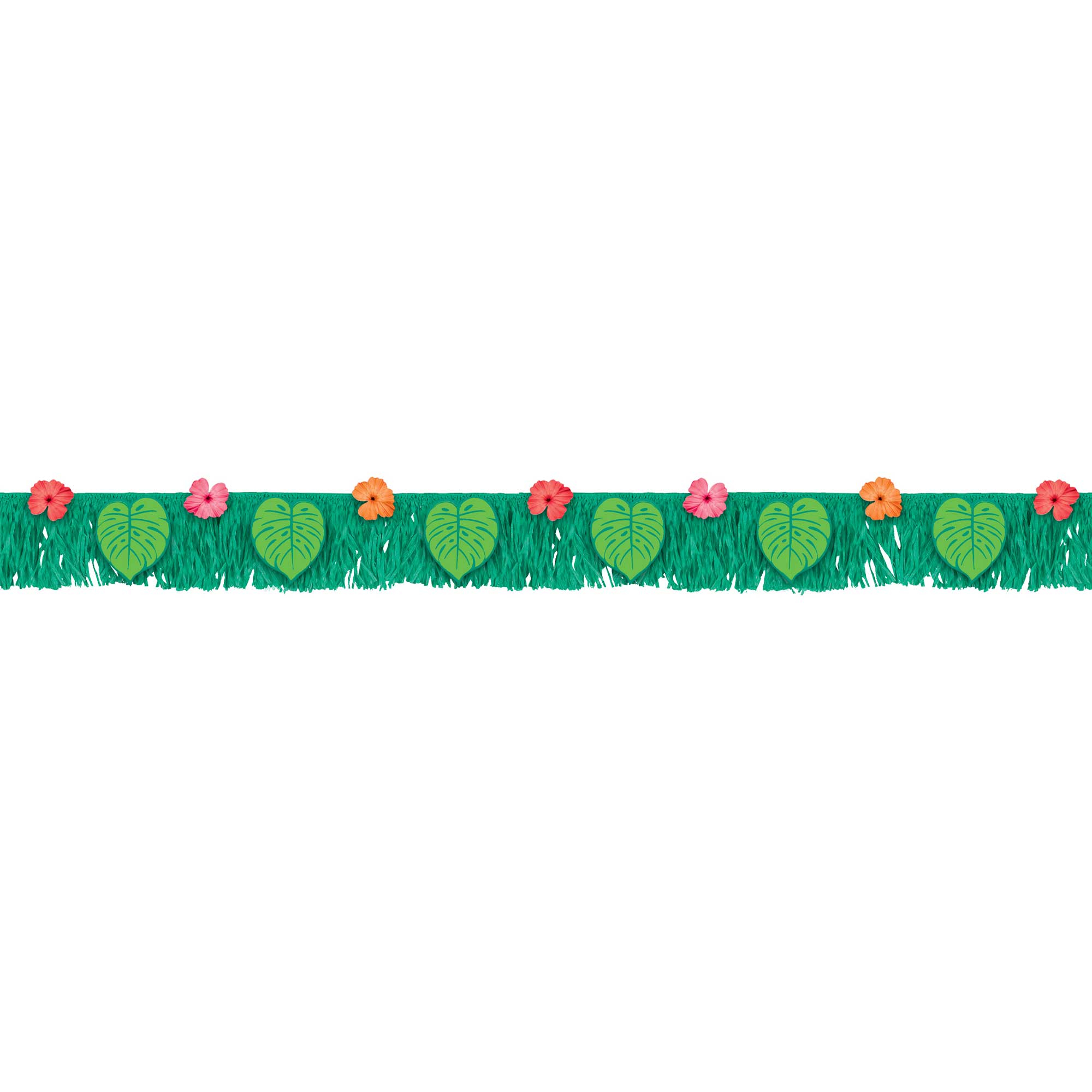 Tropical Jungle Fringe Banner with Palm Leaves & Flowers
