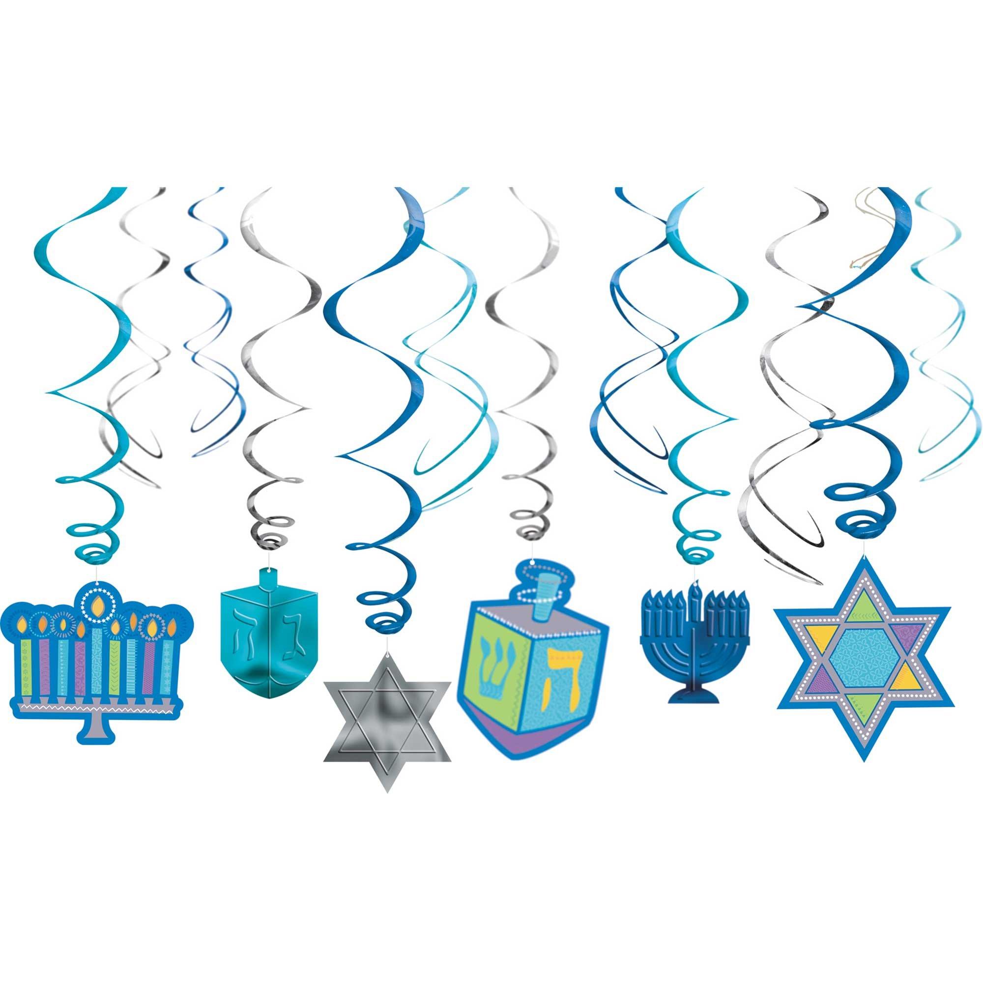 Hanukkah Foil Swirl Decorations Value Pack