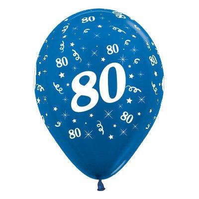 Sempertex 30cm Age 80 Metallic Blue Latex Balloons, 25PK
