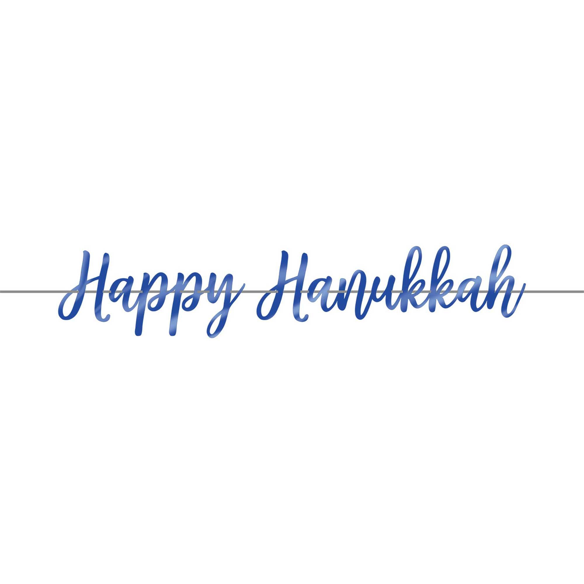 Happy Hanukkah Foil Script Ribbon Banner