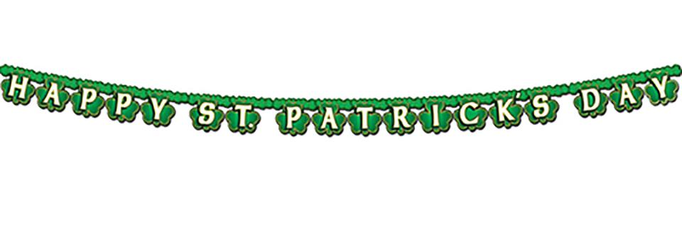 Happy St Patrick's Day & Shamrocks Jointed Streamer Banner