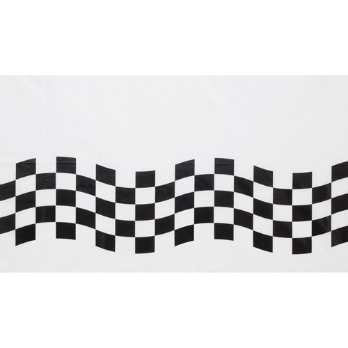 Black & White Check Paper Tablecover Border Print 137cm x 259cm