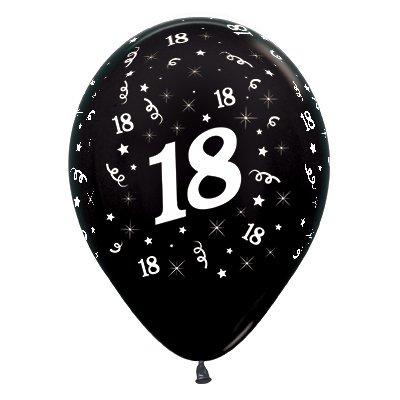 Sempertex 30cm Age 18 Metallic Black Latex Balloons, 25PK