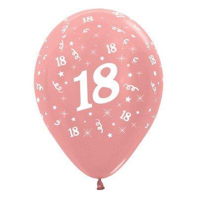 Sempertex 30cm Age 18 Metallic Rose Gold Latex Balloons, 25PK