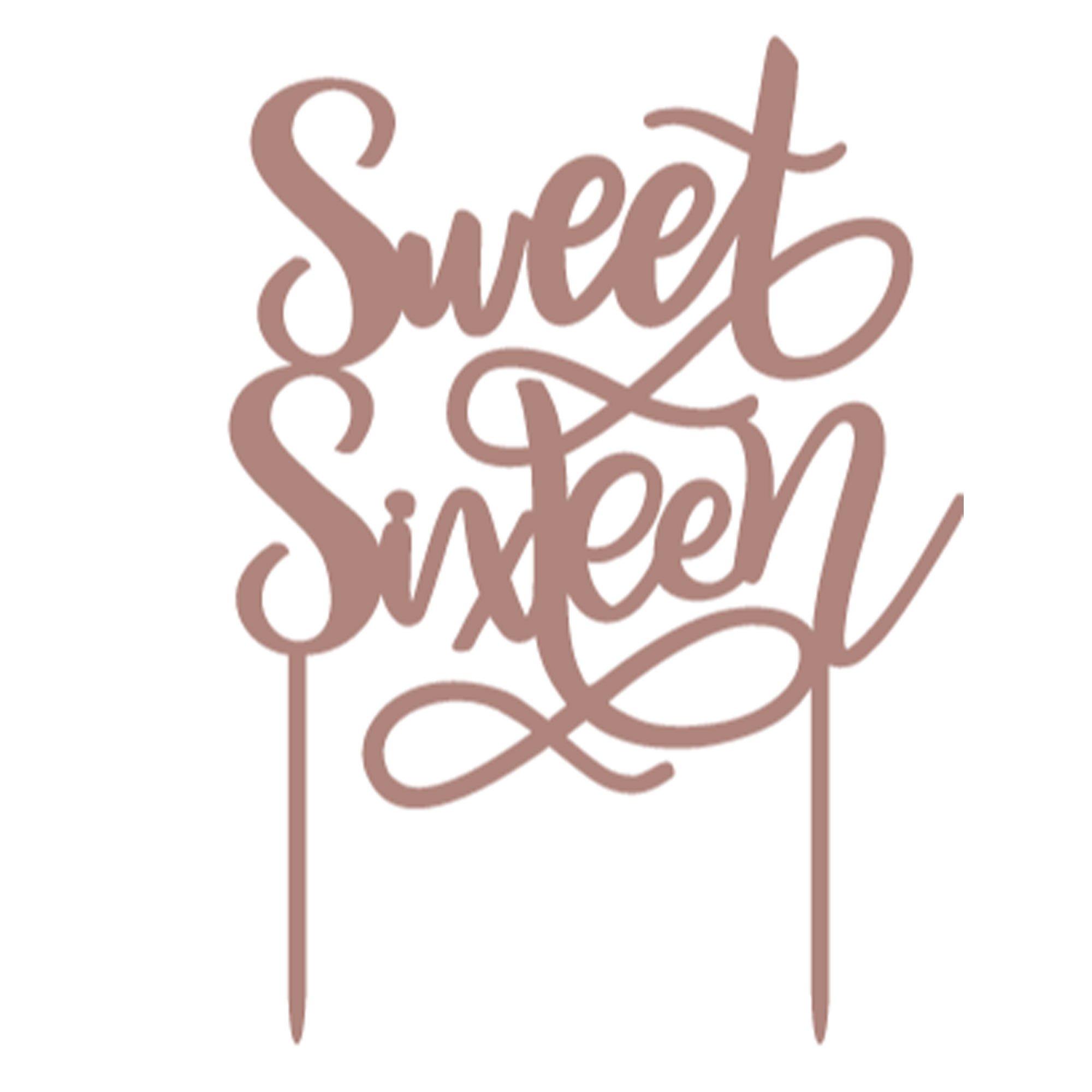 Elegant Sixteen Blush Gold Sweet Sixteen Cake Topper