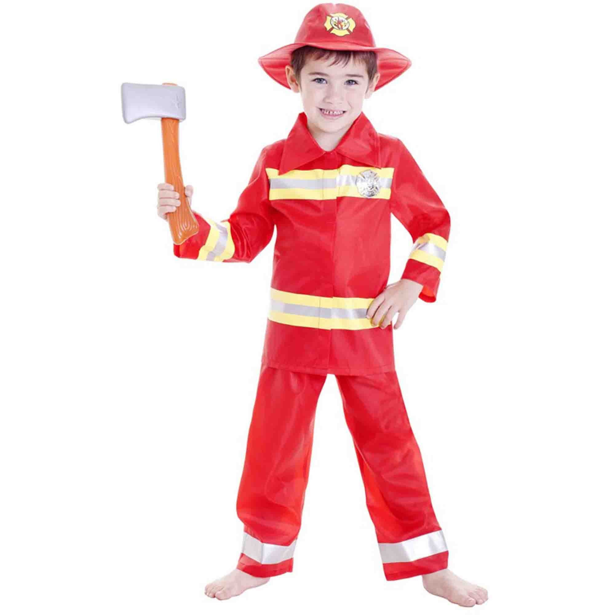 Deluxe Fireman Boy Costume (Large) 6-8 yrs