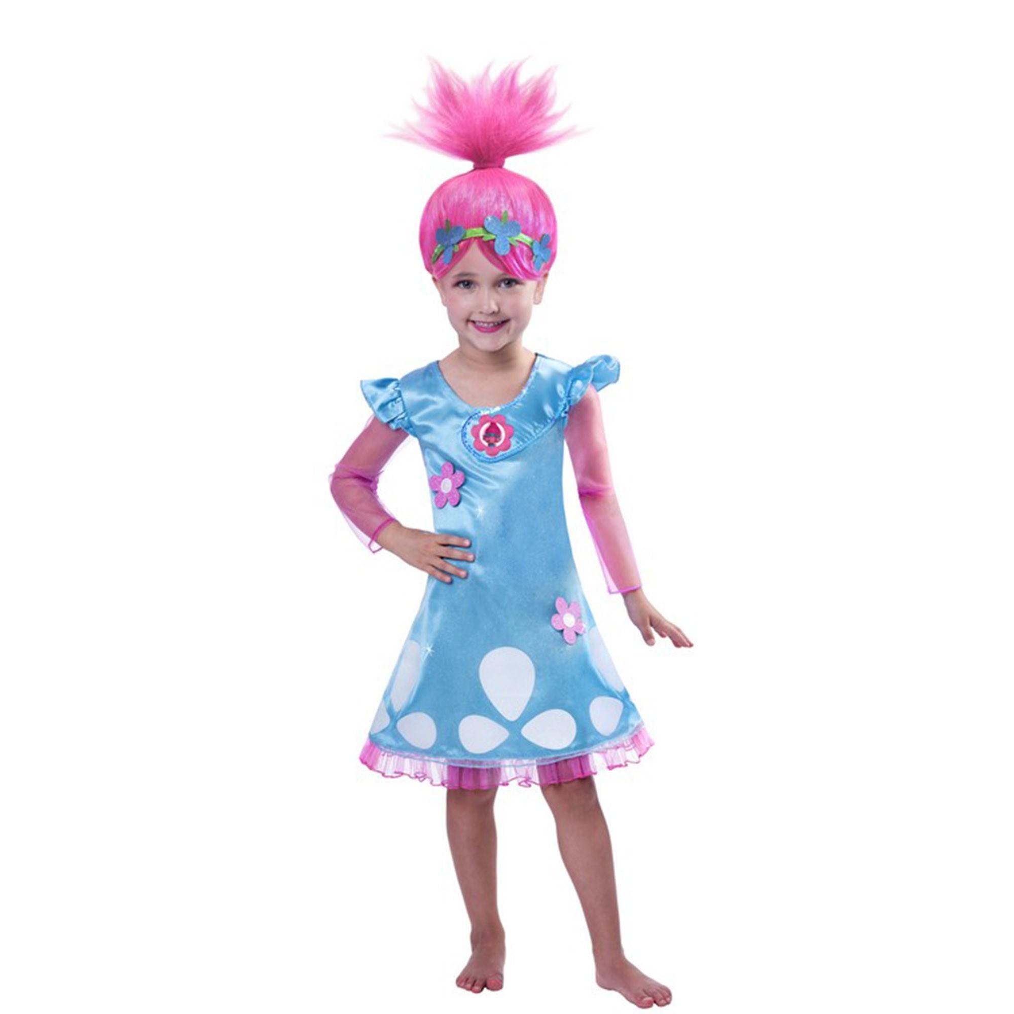 Trolls Girls Poppy Costume & Wig 5-7yrs