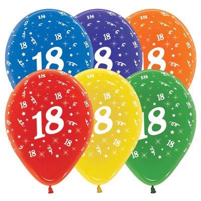 Sempertex 30cm Age 18 Crystal Assorted Latex Balloons, 25PK