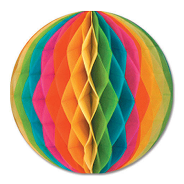 Tissue Ball Honeycomb Multi Coloured Hanging Decoration