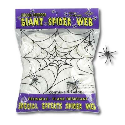 Spider Web Giant with 4 Large Plastic Spiders