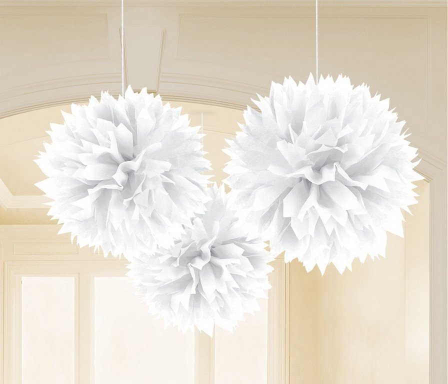 Fluffy Tissue Decorations - White