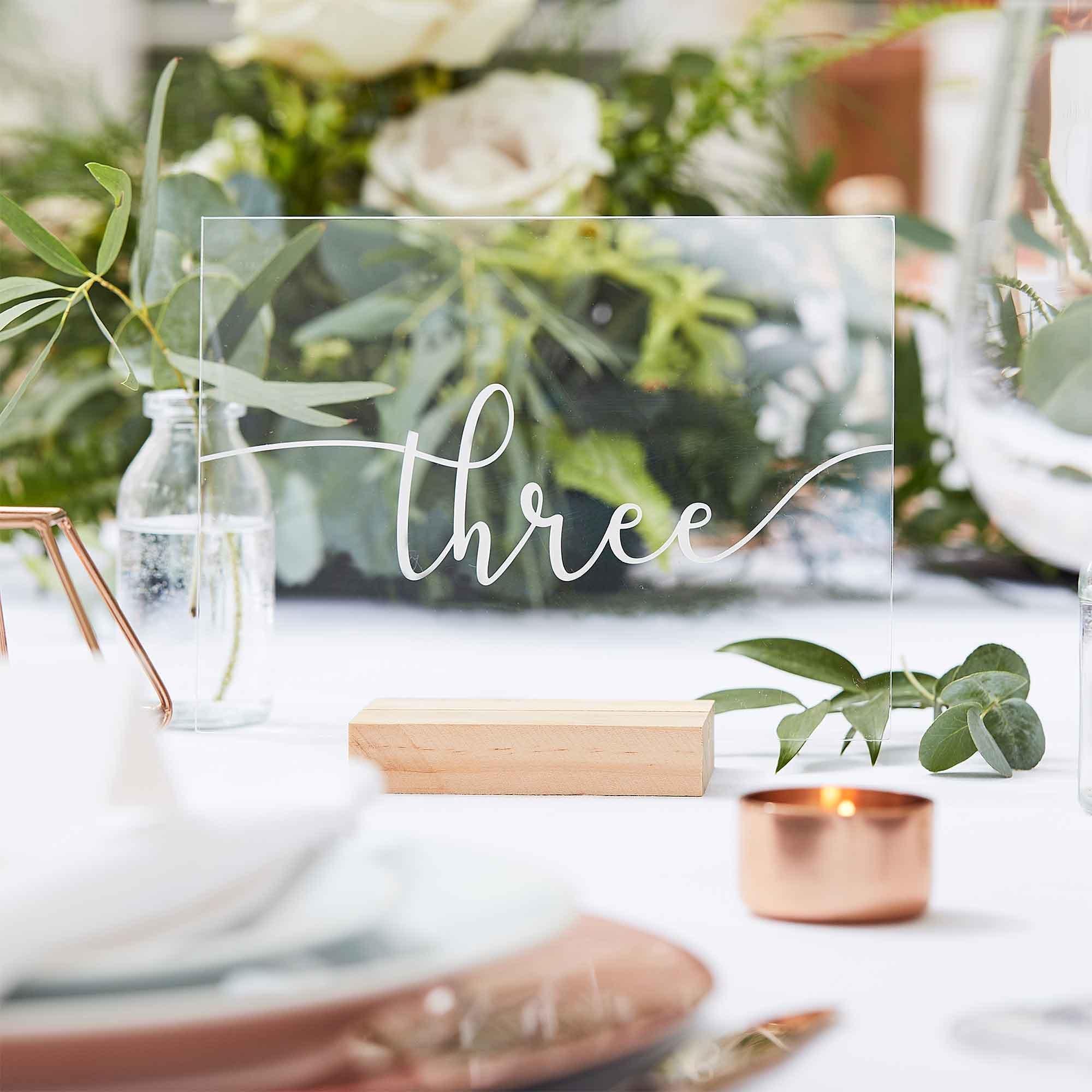 Botanical Wedding Table Numbers Wood & Acrylic Table Numbers