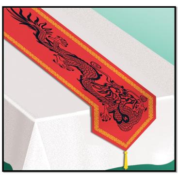 Asian Dragon Table Runner & Tassels