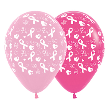 Sempertex 30cm Pink Ribbon Fashion Pink & Fuchsia Latex Balloons, 25PK