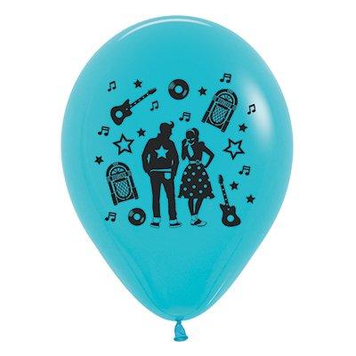 Sempertex 30cm Rock & Roll Theme Fashion Caribbean Blue Latex Balloons, 25PK