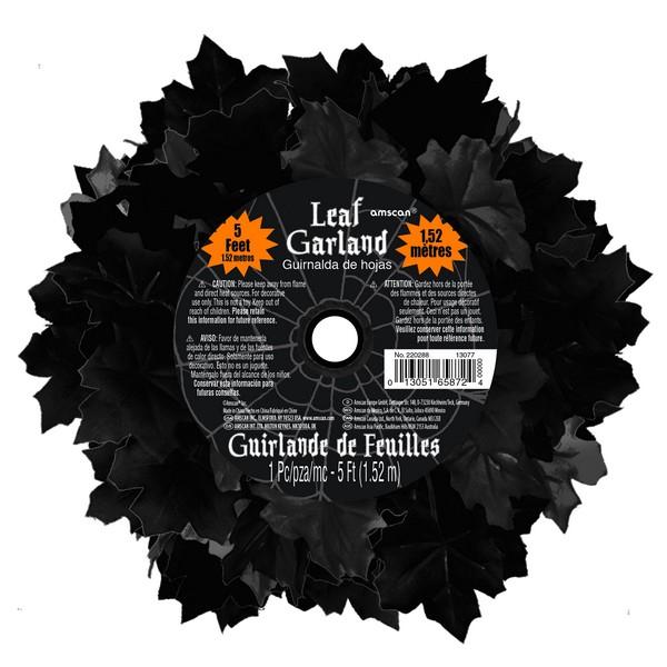 Boneyard Black Leaf Garland Decoration Plastic with Fabric Leaves