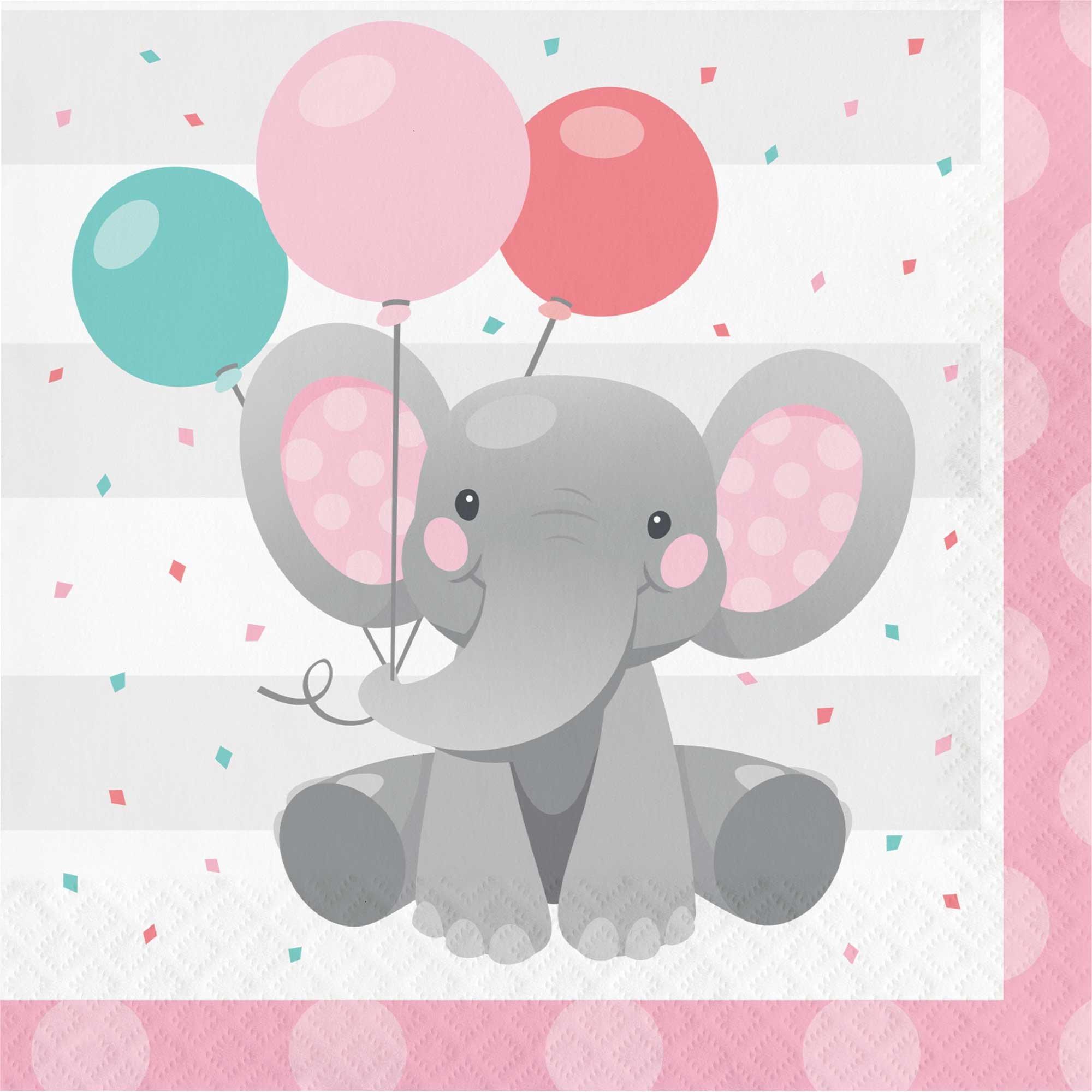 Enchanting Elephant Girl Lunch Napkins