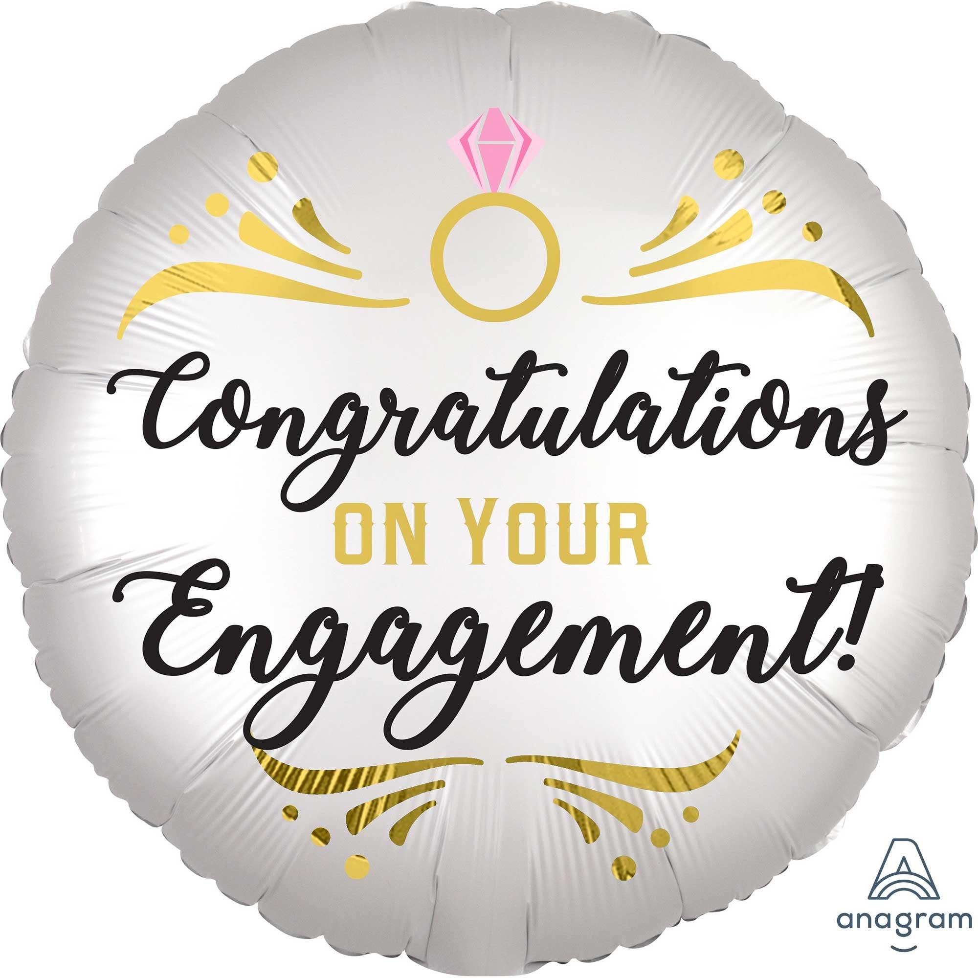 45cm Standard XL Satin Congratulations On Your Engagement  S40