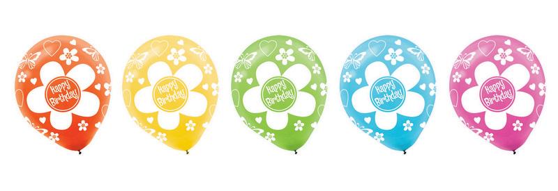 """""""Happy Birthday Flowers 12""""""""/30cm Latex Balloons"""