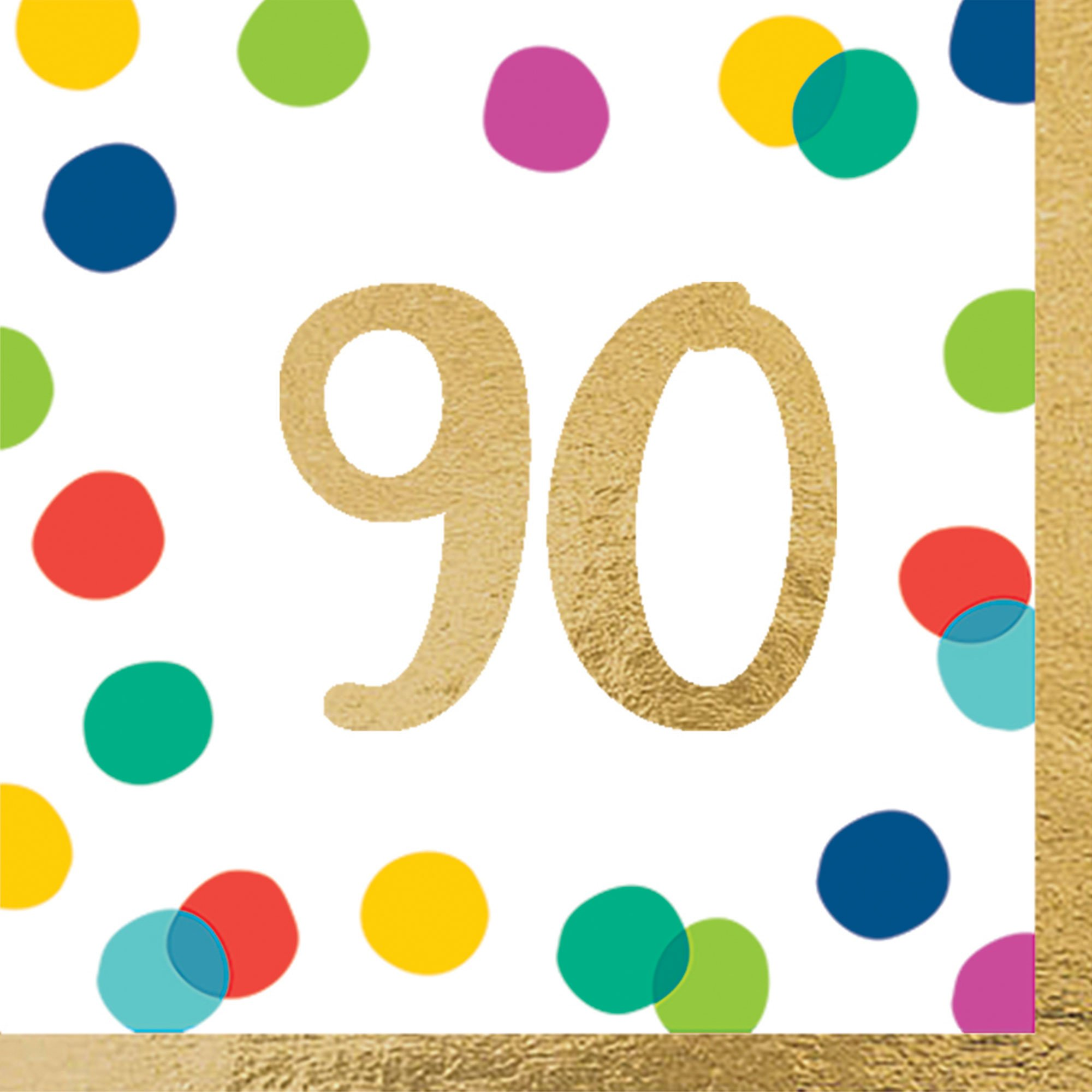 Happy Dots 90th Lunch Napkins Hot Stamped