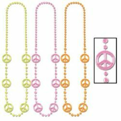 Peace Signs Neon Beaded Necklaces