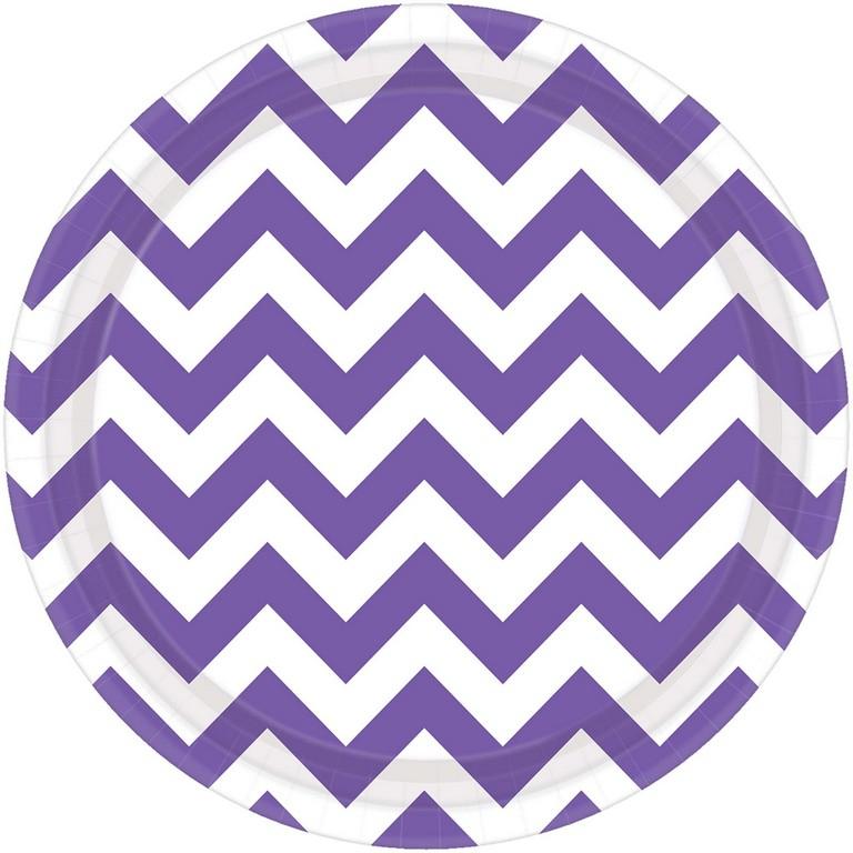 Chevron 23cm Round Plates New Purple