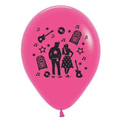 Sempertex 30cm Rock & Roll Theme Fashion Fuchsia Latex Balloons, 6PK