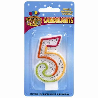 Candlelights Numeral 5 Rainbow