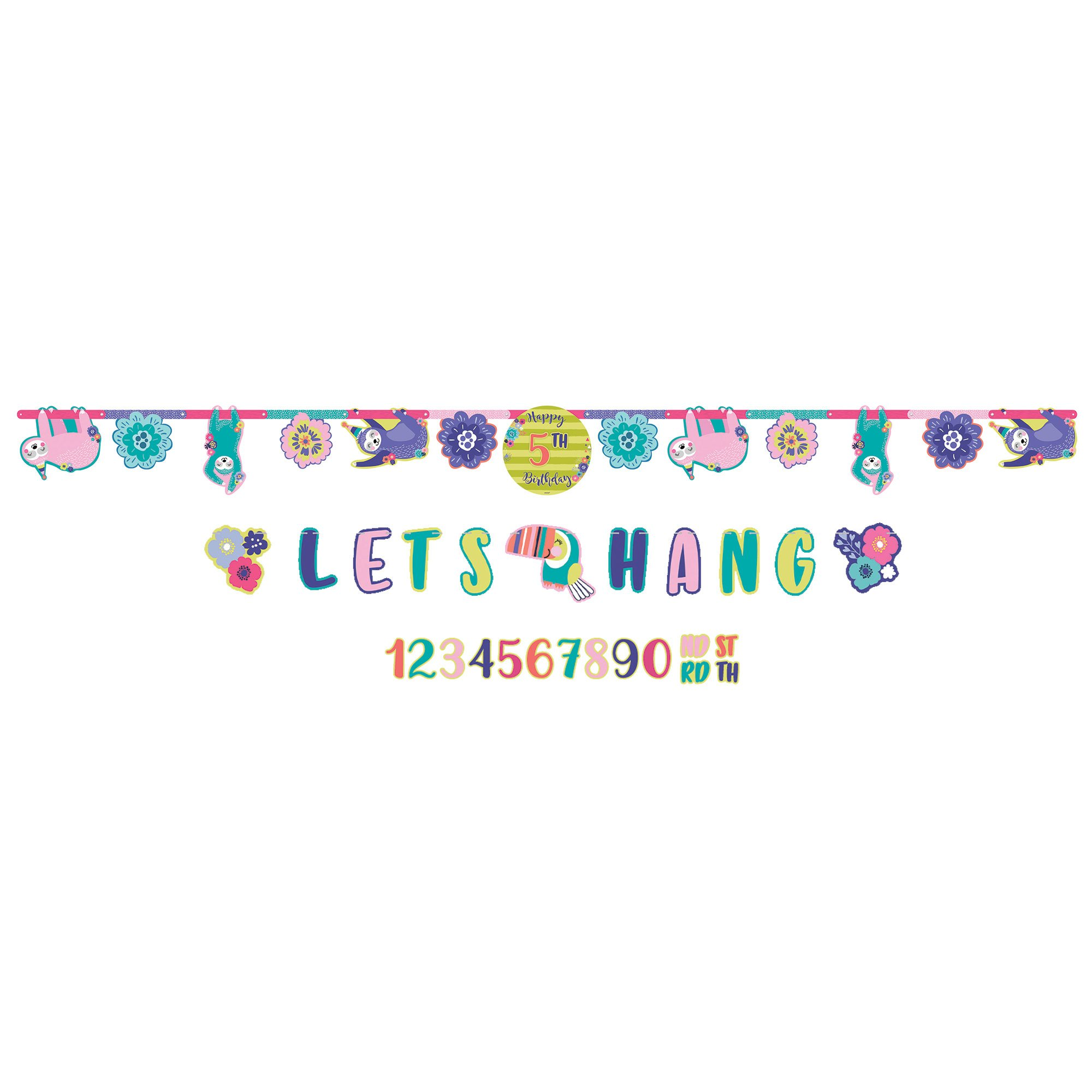 Sloth Happy Birthday Add-An-Age Letter Banner & Mini Banner Kit