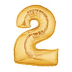 18cm Megaloon Junior Number '2' Gold