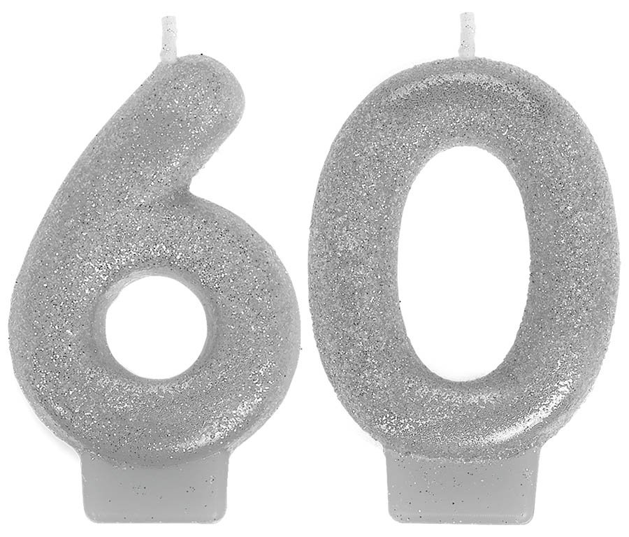 Sparkling Celebration Numeral Candles 60th