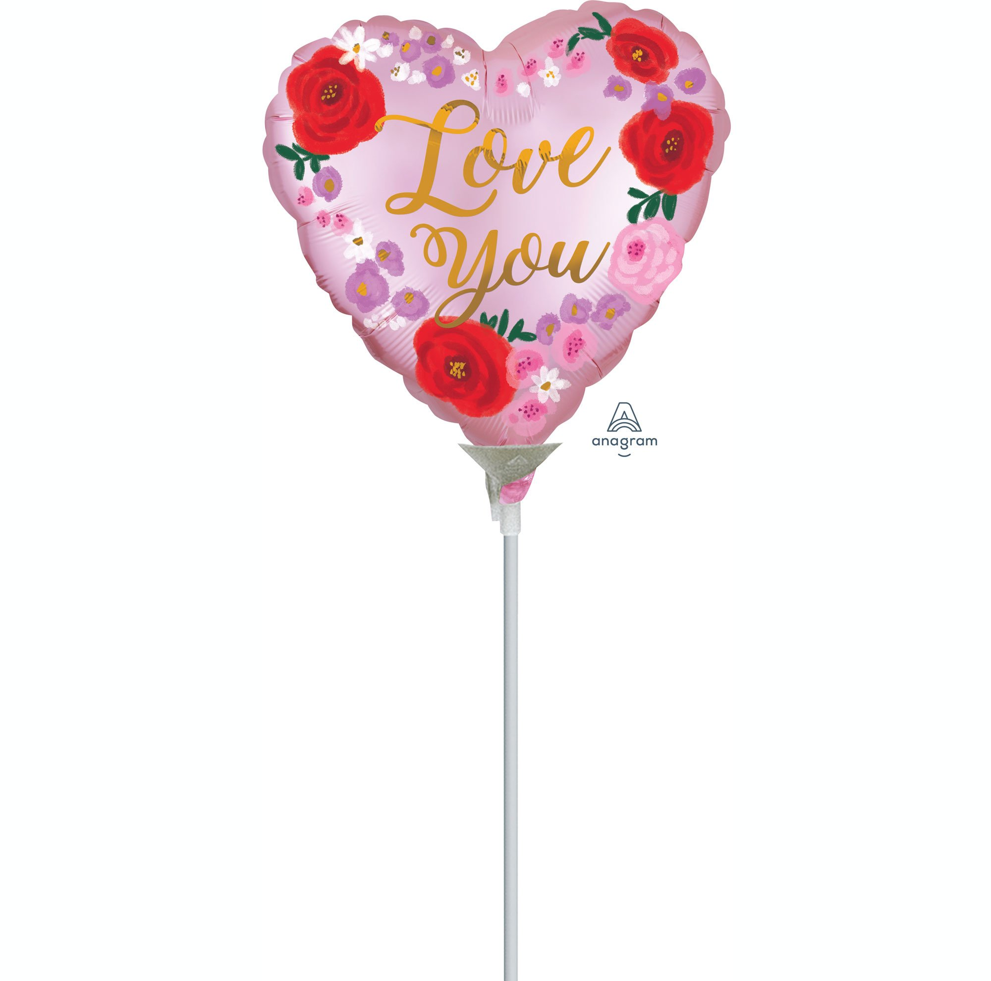 10cm Love You Satin Painted Floral A10